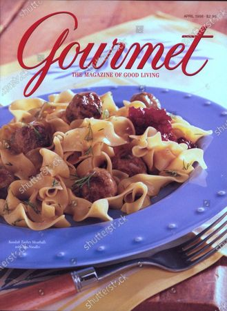 Gourmet April 01, 1998 Magazine Cover featuring: Swedish turkey meatballs with egg noodles.