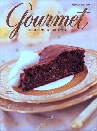 Gourmet February 01, 1998 Magazine Cover featuring: A slice of the rich Italian dessert Gianduia mousse cake.