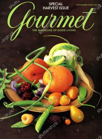 Gourmet September 01, 2000 Magazine Cover featuring: Fall bounty - cauliflower, berries, snap peas, peaches, and tomatos.