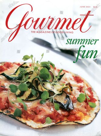 Gourmet June 01, 2001 Magazine Cover featuring: Pizza on a white napkin. Summer Fun issue.
