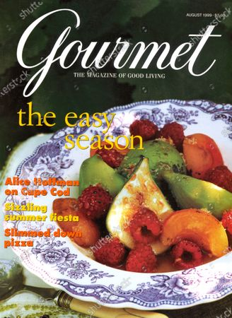 Gourmet August 01, 1999 Magazine Cover featuring: Fig, apricot, and rasberry brulee at a vineyard near Seneca Lake, New York.