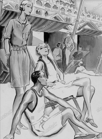 Group of people dressed for a lunch on the beach at the Lido: Standing figure wears a sports shirt and shorts in a henna-colored, washed cotton crepe; woman in the chair wears a beige one-piece bathing suit with matching belt, jersey scarf, and brown leather sandals; Man wears white jersey bathing suit with stripe and white flannel shorts.