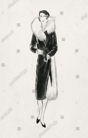 The Vicomtesse de Noailles beautifully dressed in a black velvet coat from Paquin and a small velvet Reboux hat of the bonnet de police type.