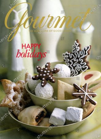 Stock Picture of Gourmet December 01, 2002 Magazine Cover featuring: Three bowls filled with Holiday cookies.