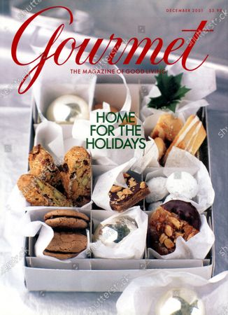 Gourmet December 01, 2001 Magazine Cover featuring: A box of holiday glass balls with sections displaying a selection of cookies and biscotti for the Home for the Holidays issue.