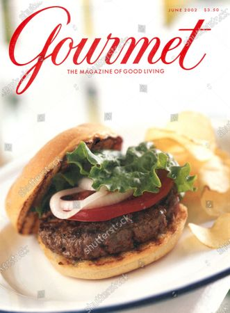 Gourmet June 01, 2002 Magazine Cover featuring: The perfect burger and potato chips.