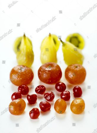 Candied fruit from the French shop Fauchon, made to look like kiwi, pears, tomatoes and kumquat.
