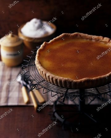 Vinegar pie placed on a wire pie stand with cinnamon and whipped cream in the background.