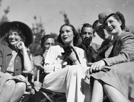 Actresses Jeanette MacDonald (left), Dolores del Rio (center) and Norma Shearer (right).
