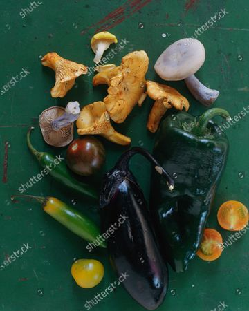Mushrooms, eggplant and other vegetables.