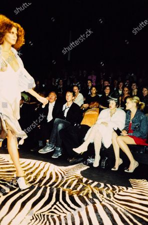 At the YSL show in the front row sits Isabella Blow, with unknown woman. Isabella Blow