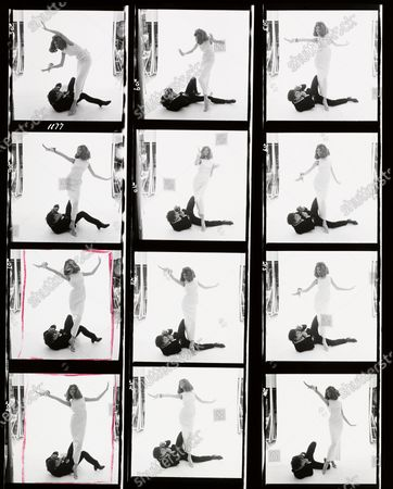 Stock Picture of Contact sheet shows twelve images of German model Veruschka (born Vera Grafin von Lehndorff-Steinort) as she poses in a studio, while British photographer David Bailey lies on the ground and films her from below, March 1965. Veruschka, David Bailey