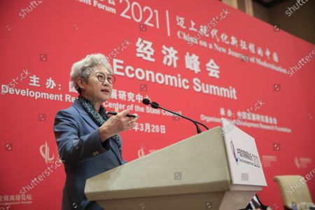 Fu Ying, Chairperson for the Center for International Security and Strategy of Tsinghua University (CISS), speaks during the China Development Forum 2021 at the Diaoyutai State Guesthouse in Beijing, China, 20 March 2021. The China Development Forum 2021 is held in Beijing from 20 to 22 March 2021, with the theme of 'China On a New Journey of Modernisation.'