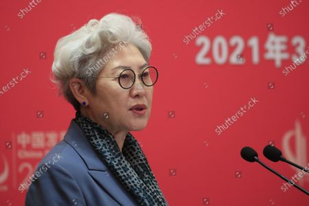 Stock Image of Fu Ying, Chairperson for the Center for International Security and Strategy of Tsinghua University (CISS), speaks during the China Development Forum 2021 at the Diaoyutai State Guesthouse in Beijing, China, 20 March 2021. The China Development Forum 2021 is held in Beijing from 20 to 22 March 2021, with the theme of 'China On a New Journey of Modernisation.'