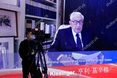 Stock Photo of A video shows Henry Kissinger, Chairman, Kissinger Associates Inc. and Former Secretary of State, speaking during the China Development Forum 2021 at the Diaoyutai State Guesthouse in Beijing, China, 20 March 2021. The China Development Forum 2021 is held in Beijing from 20 to 22 March 2021, with the theme of 'China On a New Journey of Modernisation.'