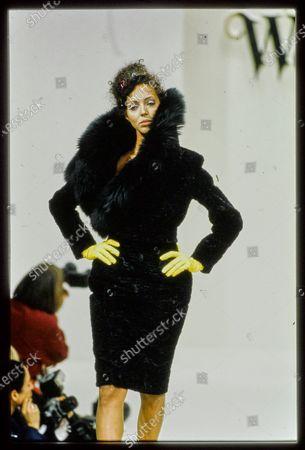 Model walks Vivienne Westwood's Fall 1994 RTW Runway collection. Rachael Crawford