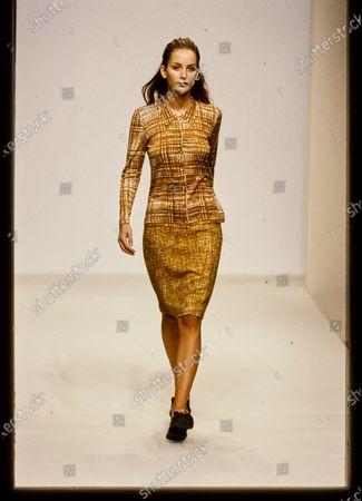 Model walks Prada's Spring 1996 RTW (pret a porter) Runway collection. Michaela Kocianova