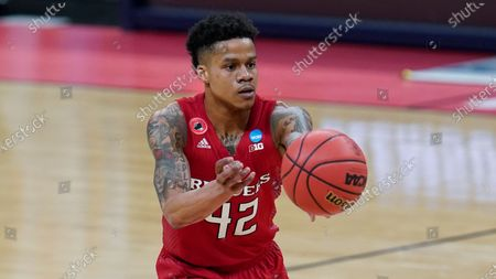 Rutgers guard Jacob Young plays against Clemson during the second half of a men's college basketball game in the first round of the NCAA tournament at Bankers Life Fieldhouse in Indianapolis