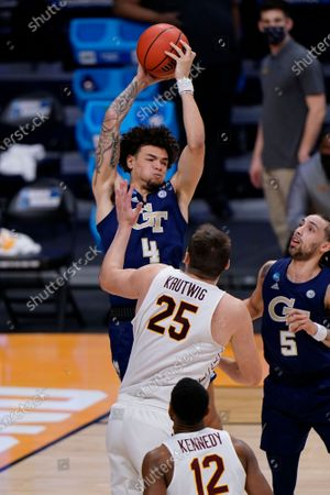Stock Image of Georgia Tech guard Jordan Usher (4) as Georgia Tech played Loyola Chicago in a college basketball game in the first round of the NCAA tournament at Hinkle Fieldhouse, Indianapolis, . Loyola Chicago won 71-60
