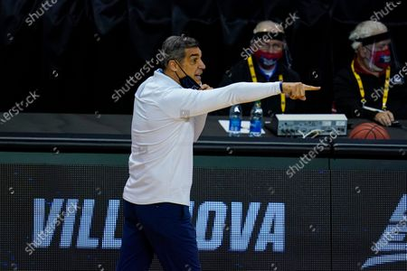 Villanova head coach Jay Wright on the bench in the second half of a first round game against Winthrop in the NCAA men's college basketball tournament at Farmers Coliseum in Indianapolis
