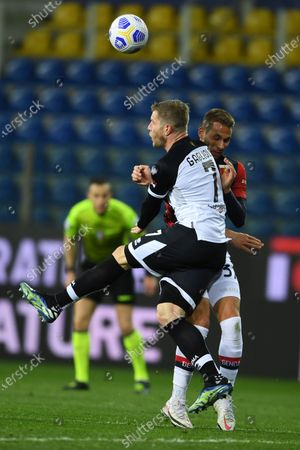 "Riccardo Gagliolo (Parma)Marko Pjaca (Genoa)           during the Italian ""Serie A"" match between Parma 1-2 Genoa at  Ennio Tardini Stadium in Parma, Italy."