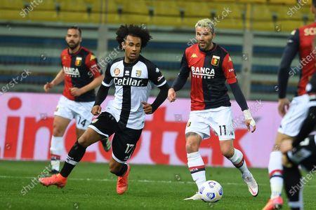"Joshua Zirkzee (Parma)Valon Behrami (Genoa)           during the Italian ""Serie A"" match between Parma 1-2 Genoa at  Ennio Tardini Stadium in Parma, Italy."