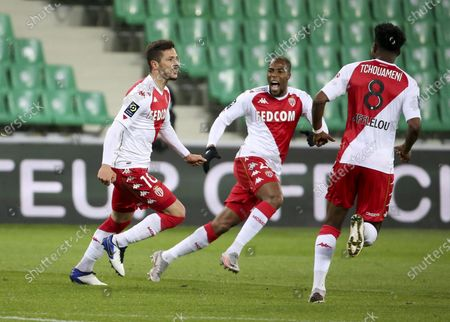 Stevan Jovetic of Monaco celebrates his goal with Djibril Sidibe