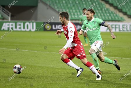 Stevan Jovetic of Monaco, Mathieu Debuchy of Saint-Etienne