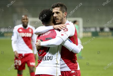 Sofiane Diop of Monaco #37 celebrates his goal with Stevan Jovetic