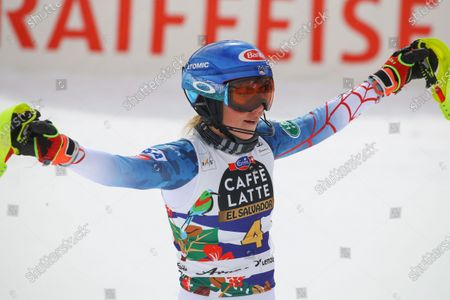 United States' Mikaela Shiffrin gets to the finish area after completing an alpine ski, women's World Cup slalom in Lenzerheide, Switzerland