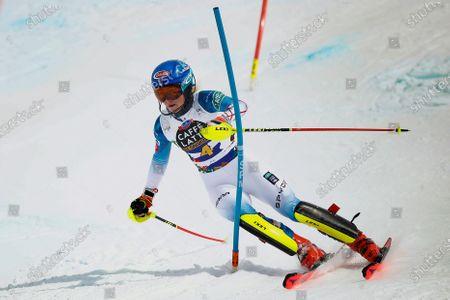 United States' Mikaela Shiffrin competes during an alpine ski, women's World Cup slalom in Lenzerheide, Switzerland