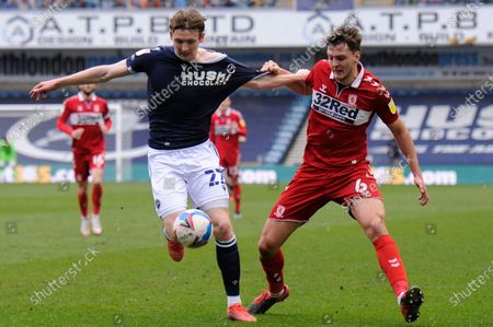 Jon Dadi Bodvarsson of Millwall and Dael Fry of Middlesbrough in action during the Sky Bet Championship, Championship match between Millwall and Middlesbrough at The Den in London - 20th March 2021