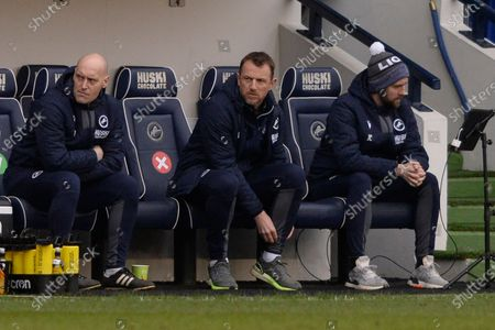 (L-R) Adam Barrett and Gary Rowett of Millwall  in action during the Sky Bet Championship, Championship match between Millwall and Middlesbrough at The Den in London - 20th March 2021