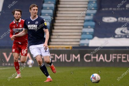 Stock Picture of Jon Dadi Bodvarsson of Millwall in action during the Sky Bet Championship, Championship match between Millwall and Middlesbrough at The Den in London - 20th March 2021