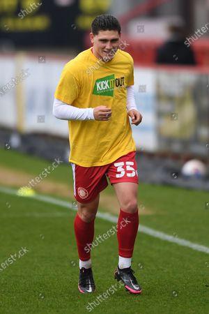 Stevenage forward Matthew Stevens (35) during the EFL Sky Bet League 2 match between Stevenage and Carlisle United at the Lamex Stadium, Stevenage