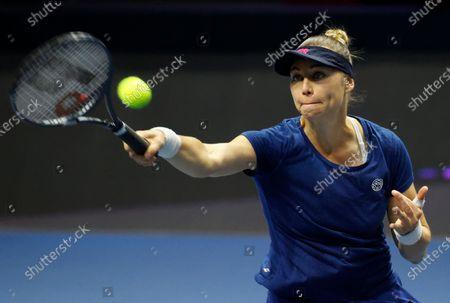 Vera Zvonareva of Russia in action during her semifinal match against Margarita Gasparyan of Russia at the St.Petersburg Ladies Trophy 2021 WTA tennis tournament in St.Petersburg, Russia, 20 March 2021.