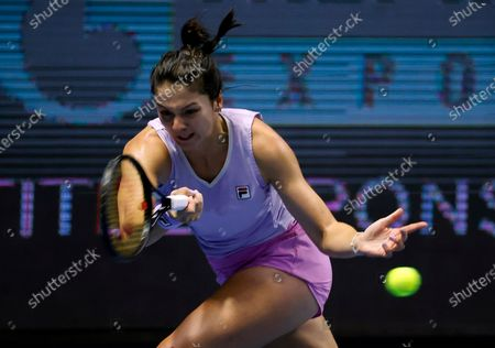 Margarita Gasparyan of Russia in action during her semifinal match against Vera Zvonareva of Russia at the St.Petersburg Ladies Trophy 2021 WTA tennis tournament in St.Petersburg, Russia, 20 March 2021.