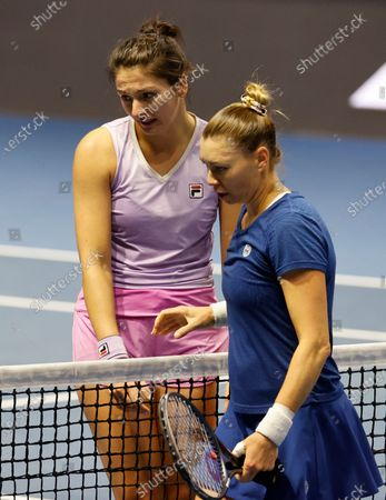 Vera Zvonareva (R) of Russia reacts after her semifinal match against Margarita Gasparyan (L) of Russia at the St.Petersburg Ladies Trophy 2021 WTA tennis tournament in St.Petersburg, Russia, 20 March 2021.