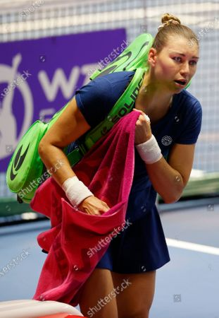 Vera Zvonareva of Russia reacts after her semifinal match against Margarita Gasparyan of Russia at the St.Petersburg Ladies Trophy 2021 WTA tennis tournament in St.Petersburg, Russia, 20 March 2021.