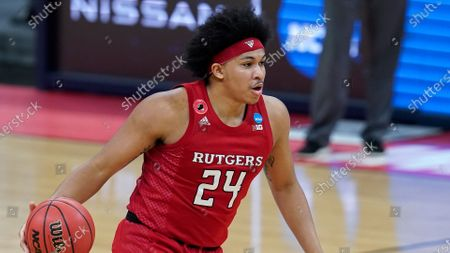 Stock Image of Rutgers guard Ron Harper Jr. plays against Clemson during the second half of a men's college basketball game in the first round of the NCAA tournament at Bankers Life Fieldhouse in Indianapolis
