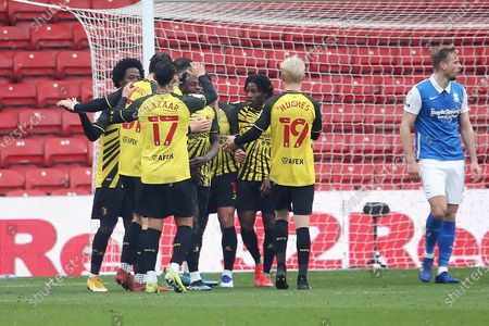 GOAL CELE Watfords Andre Gray during the EFL Sky Bet Championship match between Watford and Birmingham City at Vicarage Road, Watford