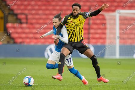Ivan Sanchez of Birmingham City is tackled by Nathaniel Chalobah of Watford