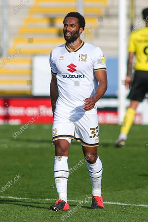 Cameron Jerome of Milton Keynes Dons (35) during the EFL Sky Bet League 1 match between Burton Albion and Milton Keynes Dons at the Pirelli Stadium, Burton upon Trent