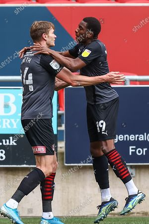 Stock Photo of CELE Rotherham FC's Michael Smith (24) celebrates scoring the opening goal with team-mate Wes Harding (19) during the EFL Sky Bet Championship match between Bristol City and Rotherham United at Ashton Gate, Bristol