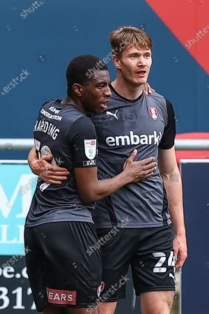 CELE Rotherham FC's Michael Smith (24) celebrates scoring the opening goal with his team mate Wes Harding (19) during the EFL Sky Bet Championship match between Bristol City and Rotherham United at Ashton Gate, Bristol