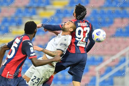 Stock Picture of Bologna's defender Danilo Larangeira (L) and Crotone's forward Emmanuel Riviere in action during the Italian Serie A soccer match between FC Crotone and Bologna FC at Ezio Scida stadium in Crotone, Italy, 20 March 2021.