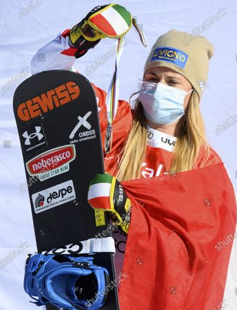 Second placed Michela Moioli of Italy reacts on the podium during the women's Snowboard Cross, at the FIS Snowboard Cross, SBX, World Cup Finals in Veysonnaz, Switzerland, 20 March 2021.