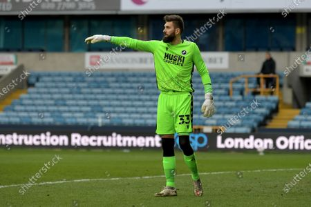 Bartosz Bialkowski of Millwall during the Millwall vs Middlesbrough, EFL Championship Football match at the New Den London held behind closed doors.