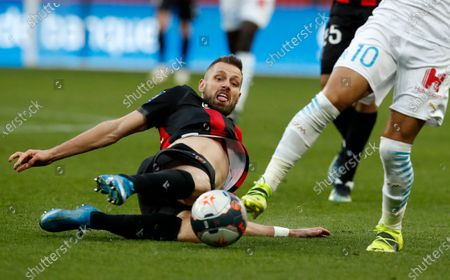 Morgan Schneiderlin of OGC Nice in action during the French Ligue 1 soccer match, OGC Nice vs Olympique Marseille, at the Allianz Riviera stadium, in Nice, France, 20 March 2021.