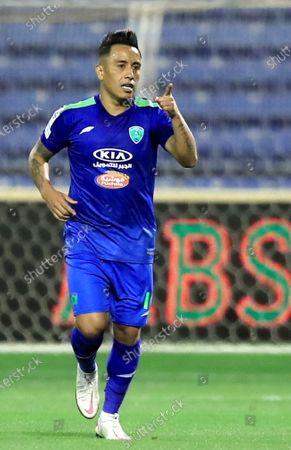 Al-Fateh's player Christian Cueva celebrates after scoring a goal during the Saudi Professional League soccer match between Al-Fateh and Al-Ahli at Prince Abdullah bin Jalawi Stadium, in Al-Hasa, Saudi Arabia, 20 March 2021.